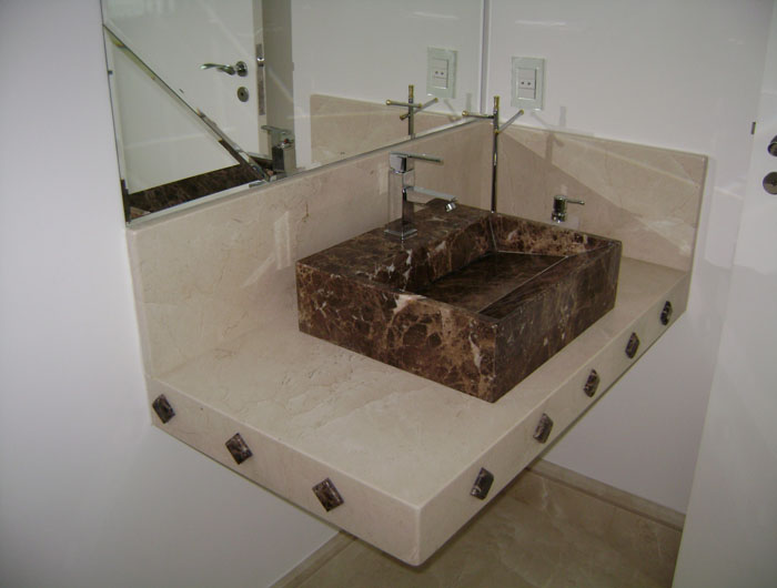 BANHEIRO  DDL MÁRMORES -> Pia De Banheiro Com Granito Ouro Brasil